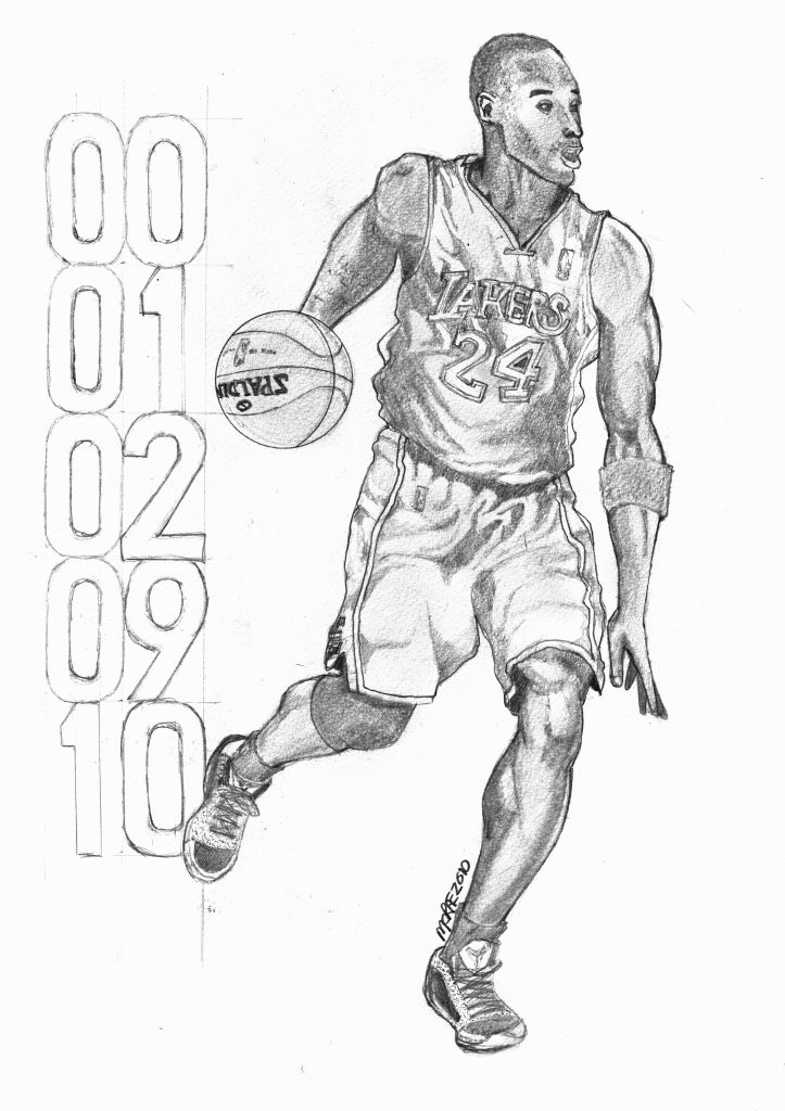 This is a graphic of Dashing Pictures Of Kobe Bryant Coloring Pages