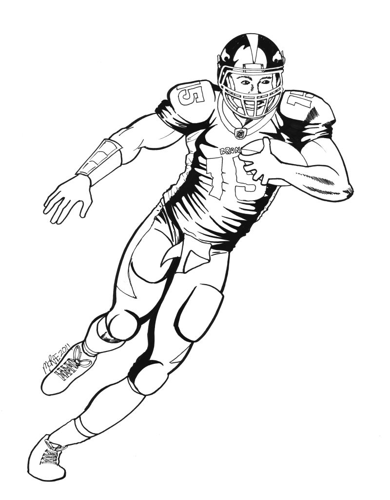 Coloring Pages Denver Broncos Football Players